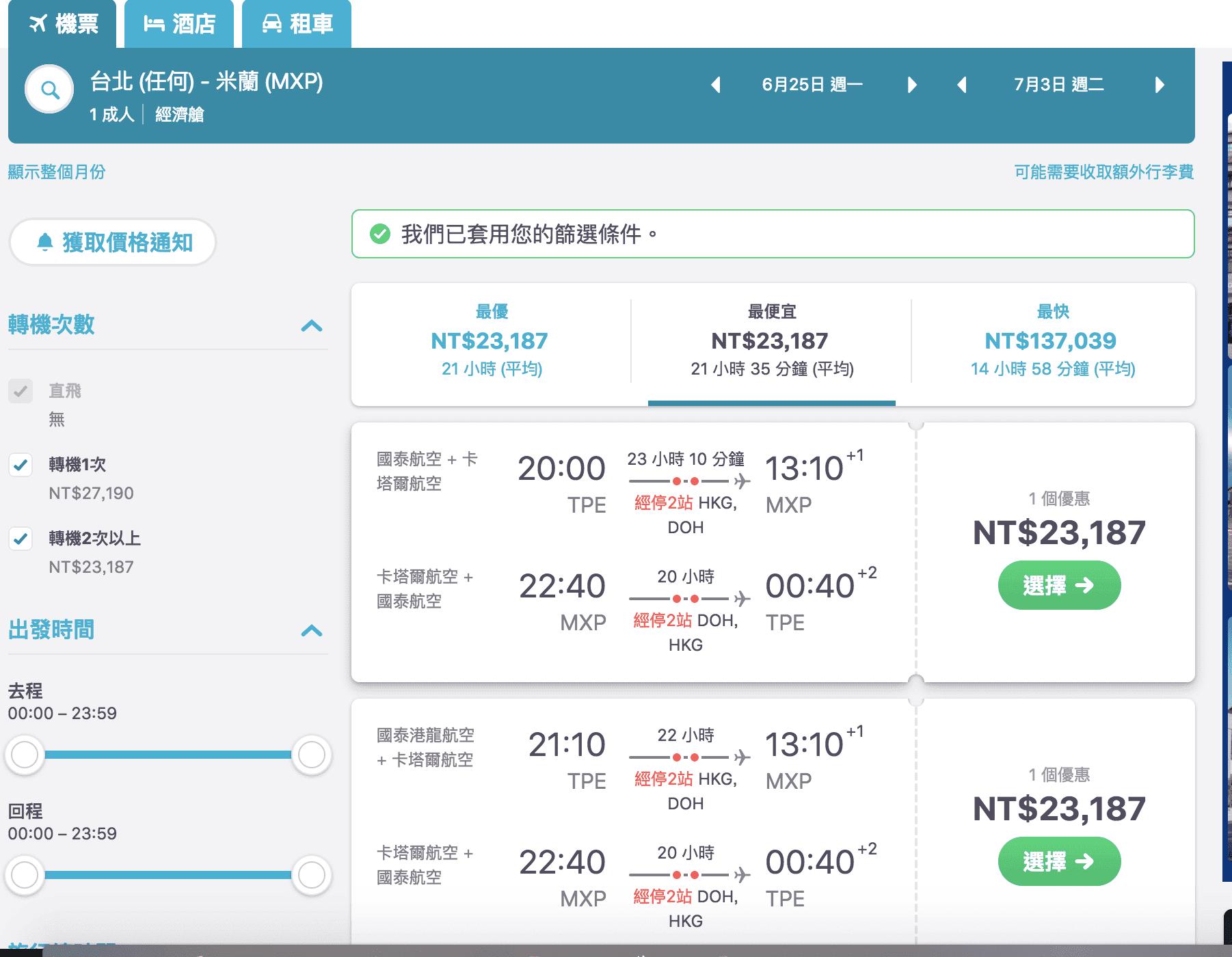 台北飛米蘭便宜票價|卡達航空台北出發,只要23K,六月到七月喔!(查票日期:107.2.17)