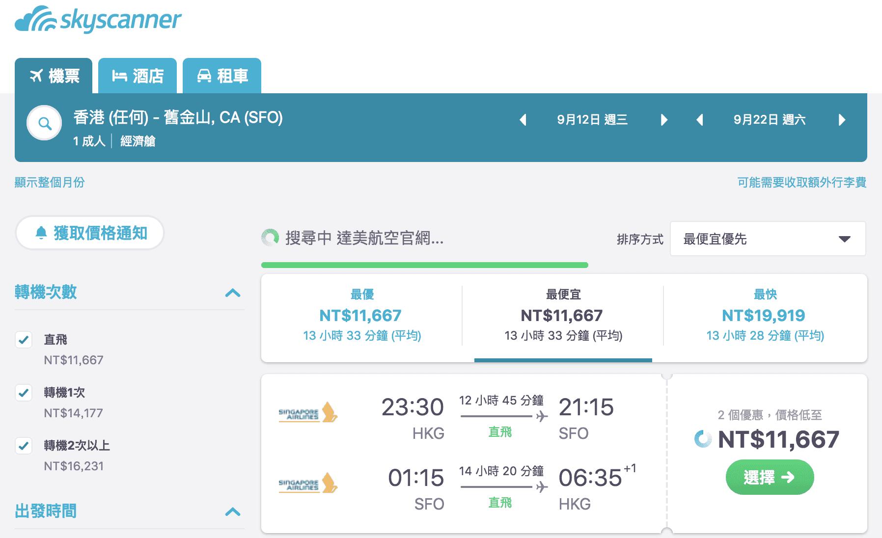 新加坡航空,香港直飛舊金山,最低只要11667元~夢幻新航直飛不中停喔~外站出發優惠~(查票日期:107.4.15)