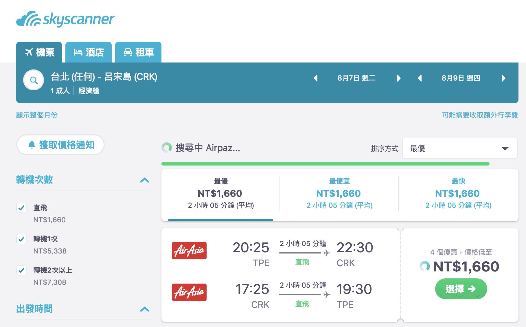 網站近期文章:亞洲航空,菲律賓最低1660來回~暑假去海島放空吧!(查票:107.4.24)