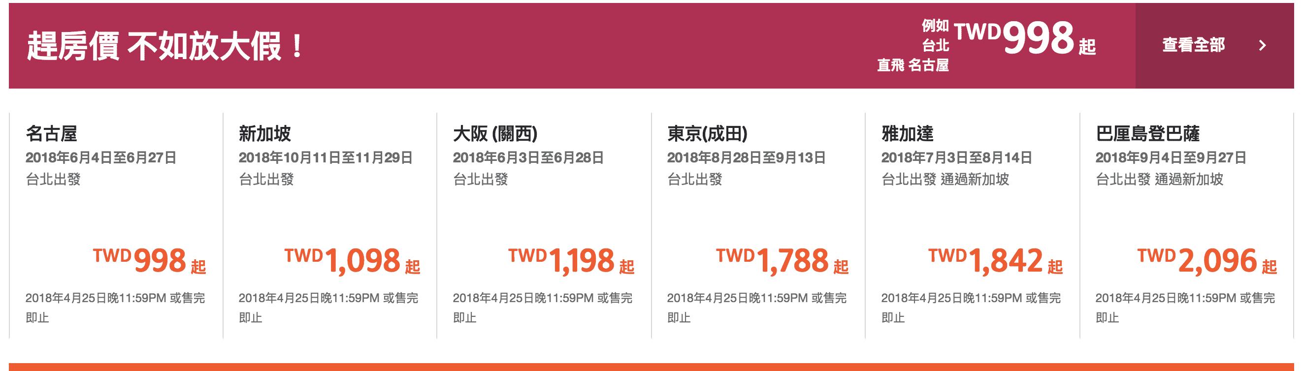 網站近期文章:捷星特價持續中!台北大阪3732含稅不含行李來回~暑假前的票價大促銷(查票:107.4.24)