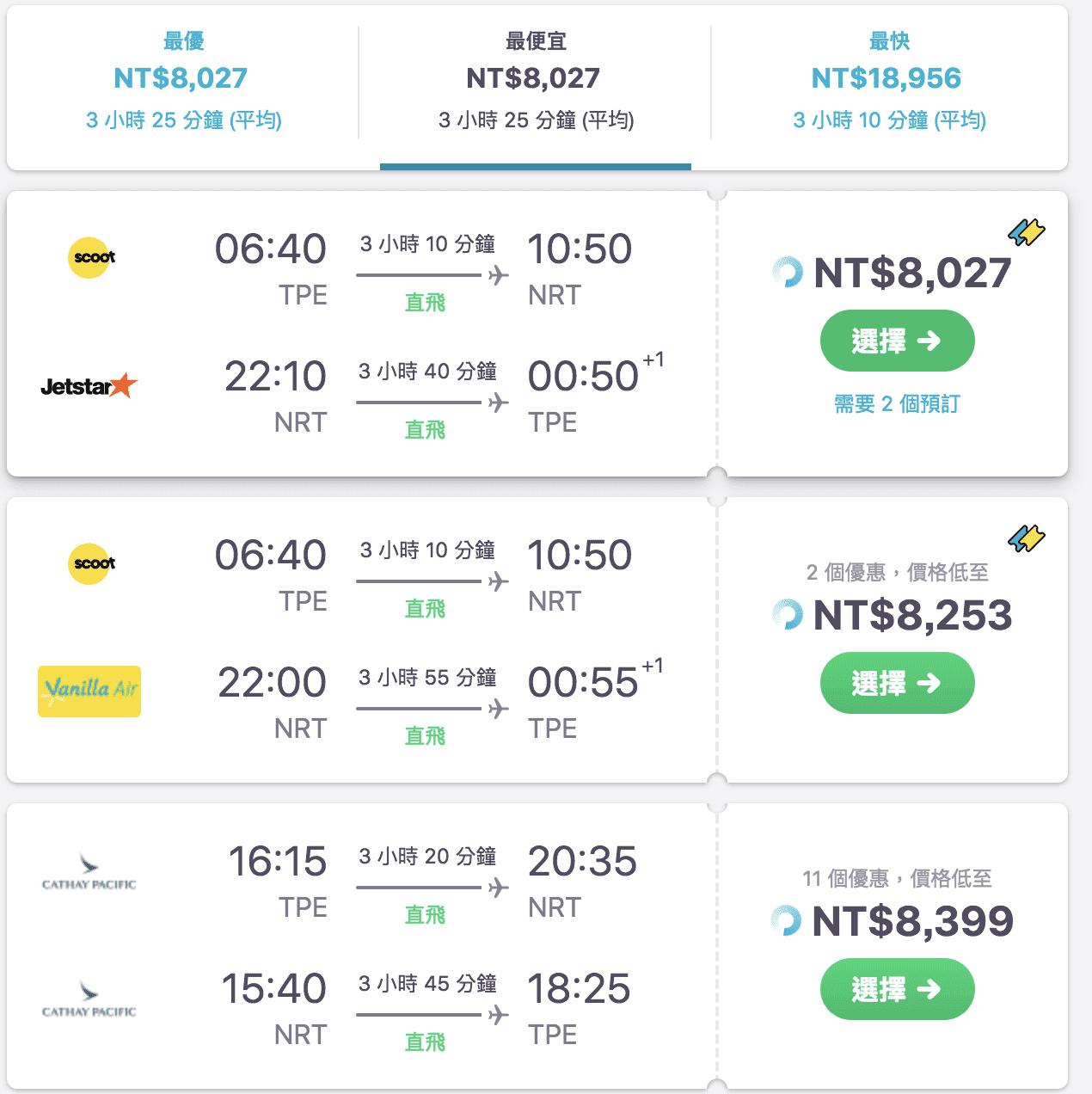 國泰航空台北東京8~9月促銷~最低8400來回~(查票:107.7.18)