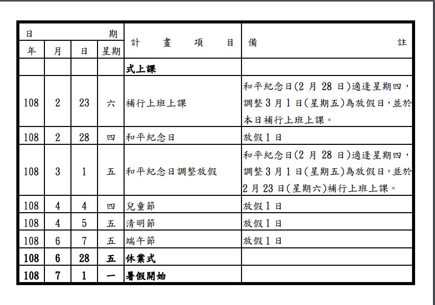 2019/108年過年假期時間,108年行事曆及預測中小學生寒暑假日期~補上日本2019假期~