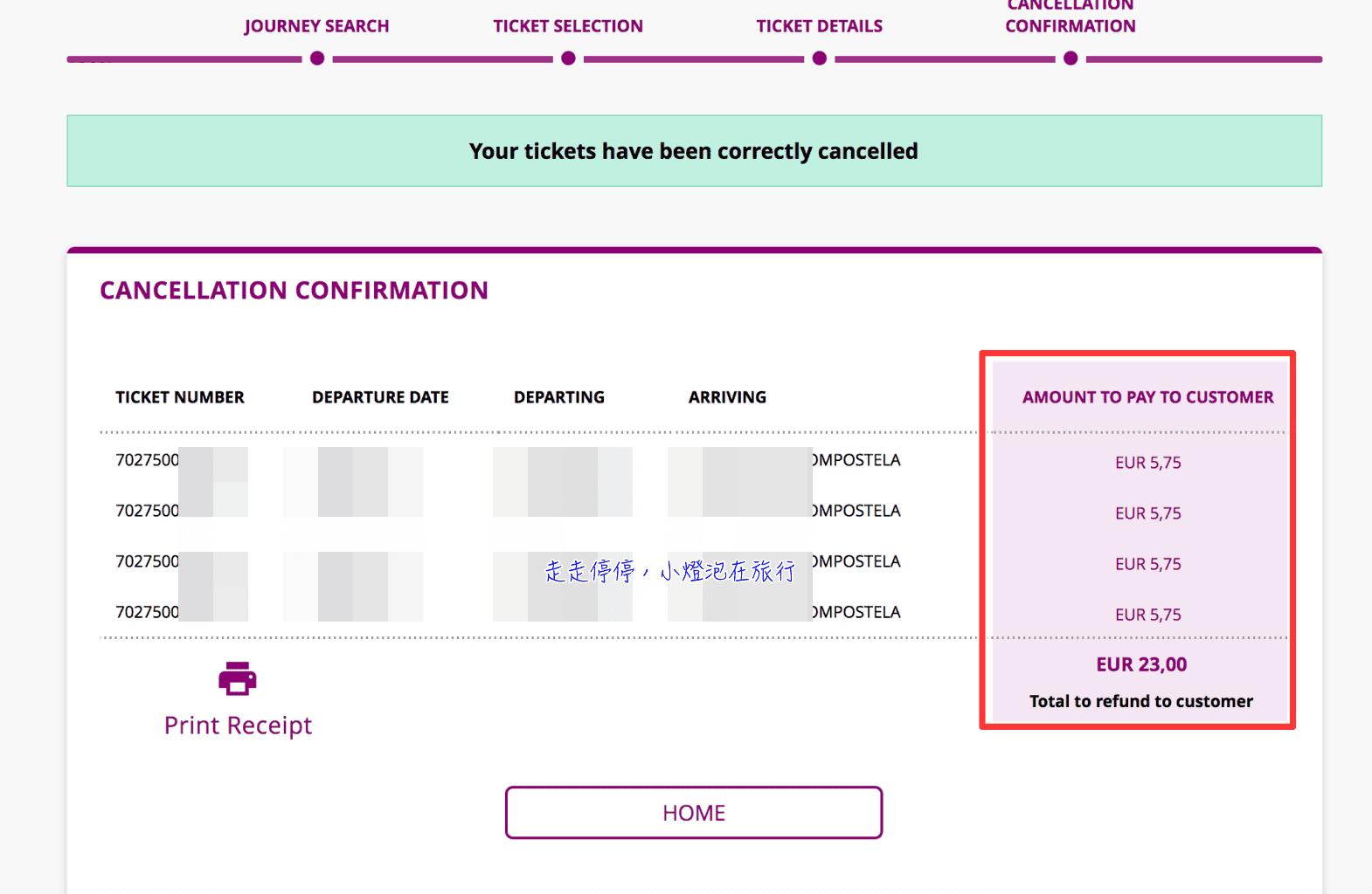 西班牙火車票退票 網站操作步驟(僅信用卡付費可於網站退票)