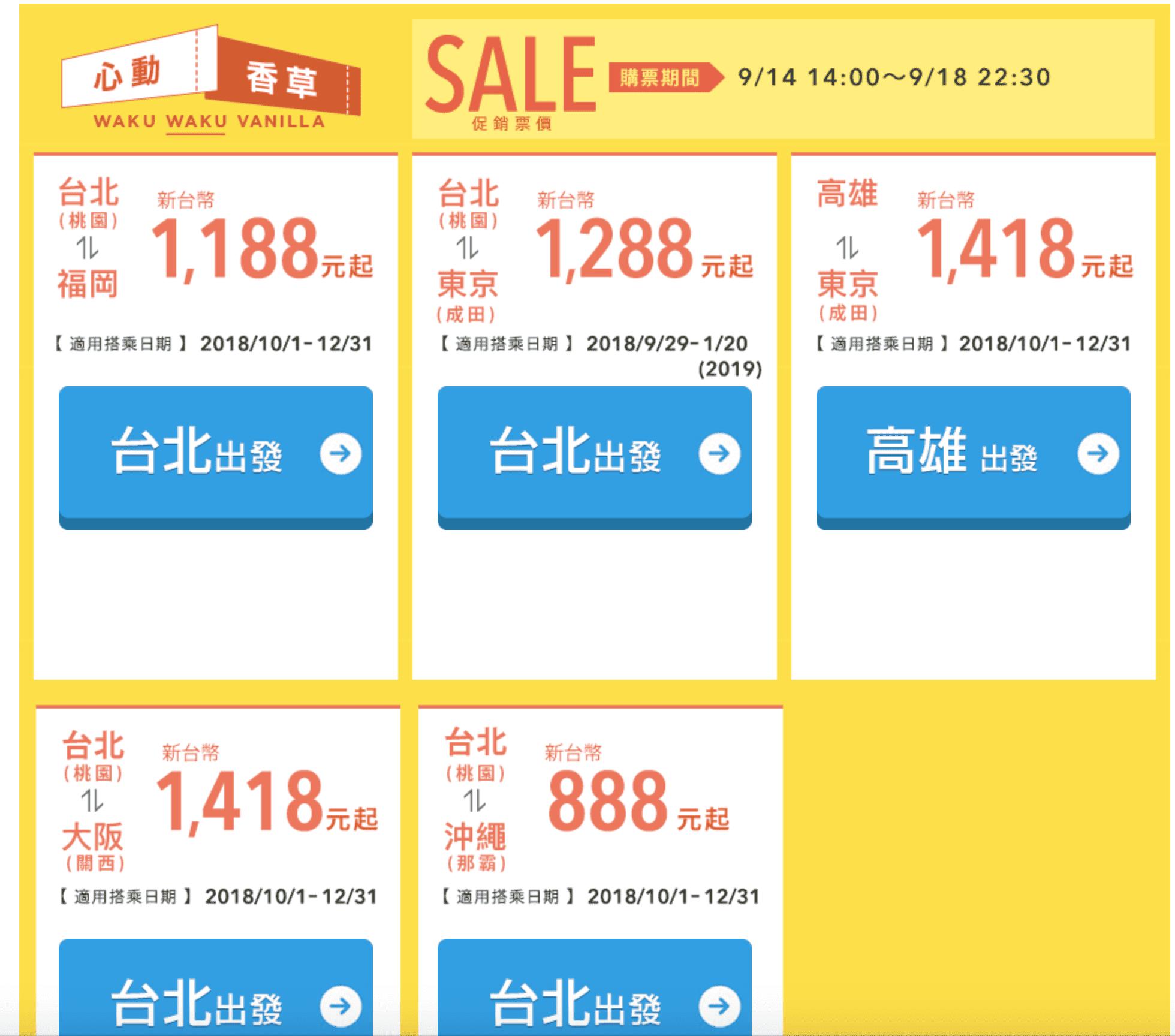 香草促銷,9/14 14:00起,冬季機票最低888元單程未稅,9/29~1/20(查票:107.9.14)