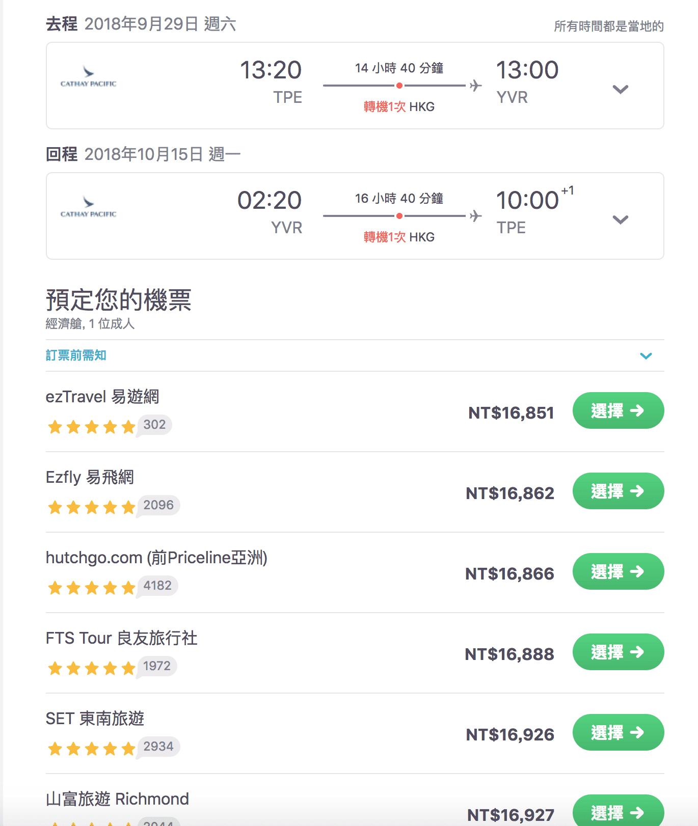 台北溫哥華促銷,香港航空14K起(查票:107.9.18)