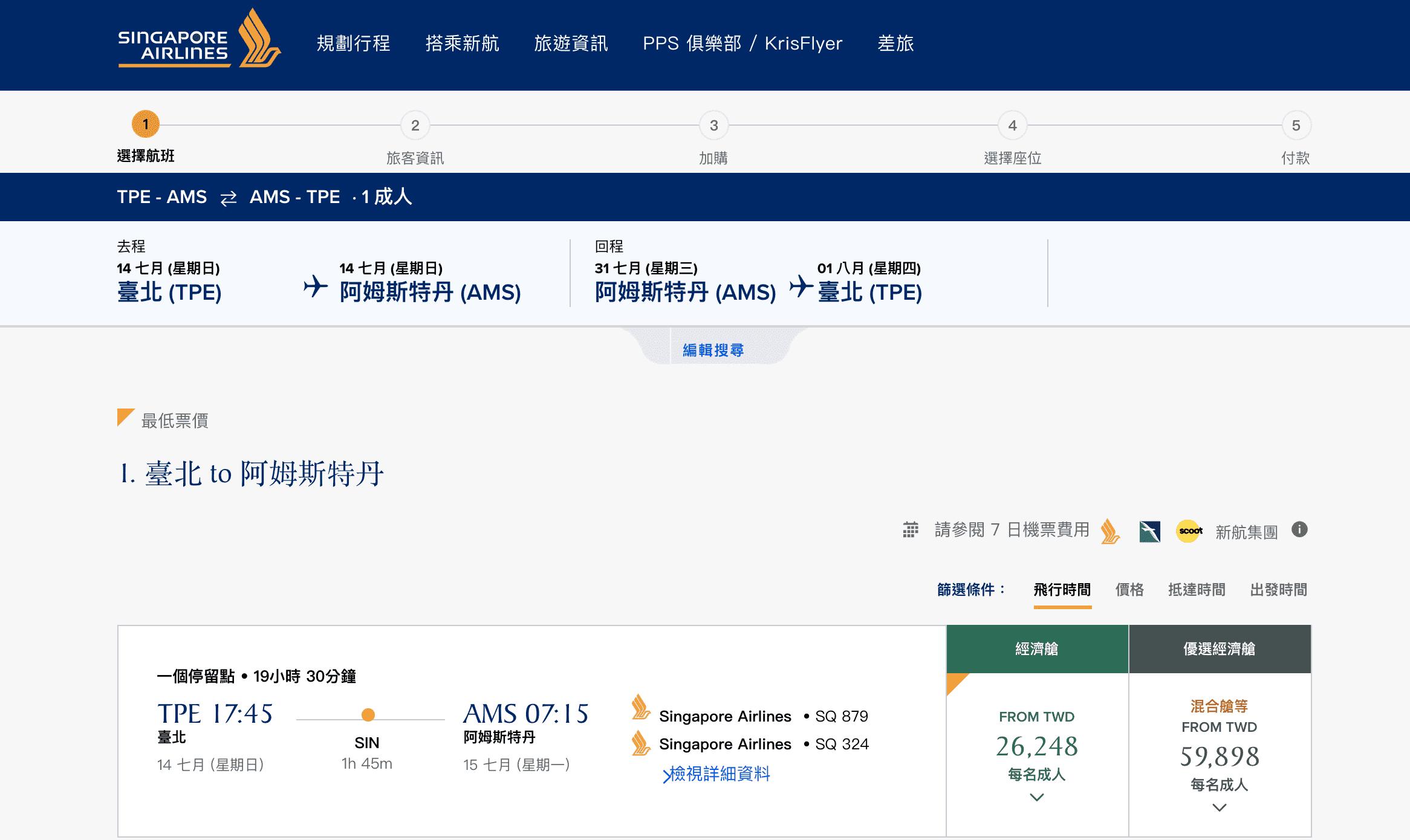 又見新航2019正暑假25K起划算票價~巴黎、阿姆斯特丹、蘇黎世(查票:107.9.27)