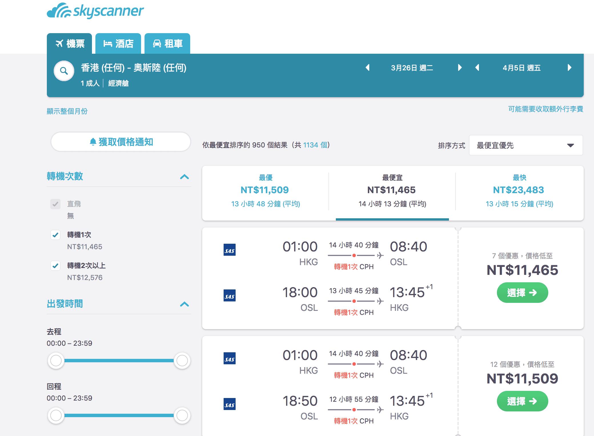 北歐航空外站超殺特價,香港北歐段最低11K起,冰島最低16K~極光我來了(查價:107.10.5)