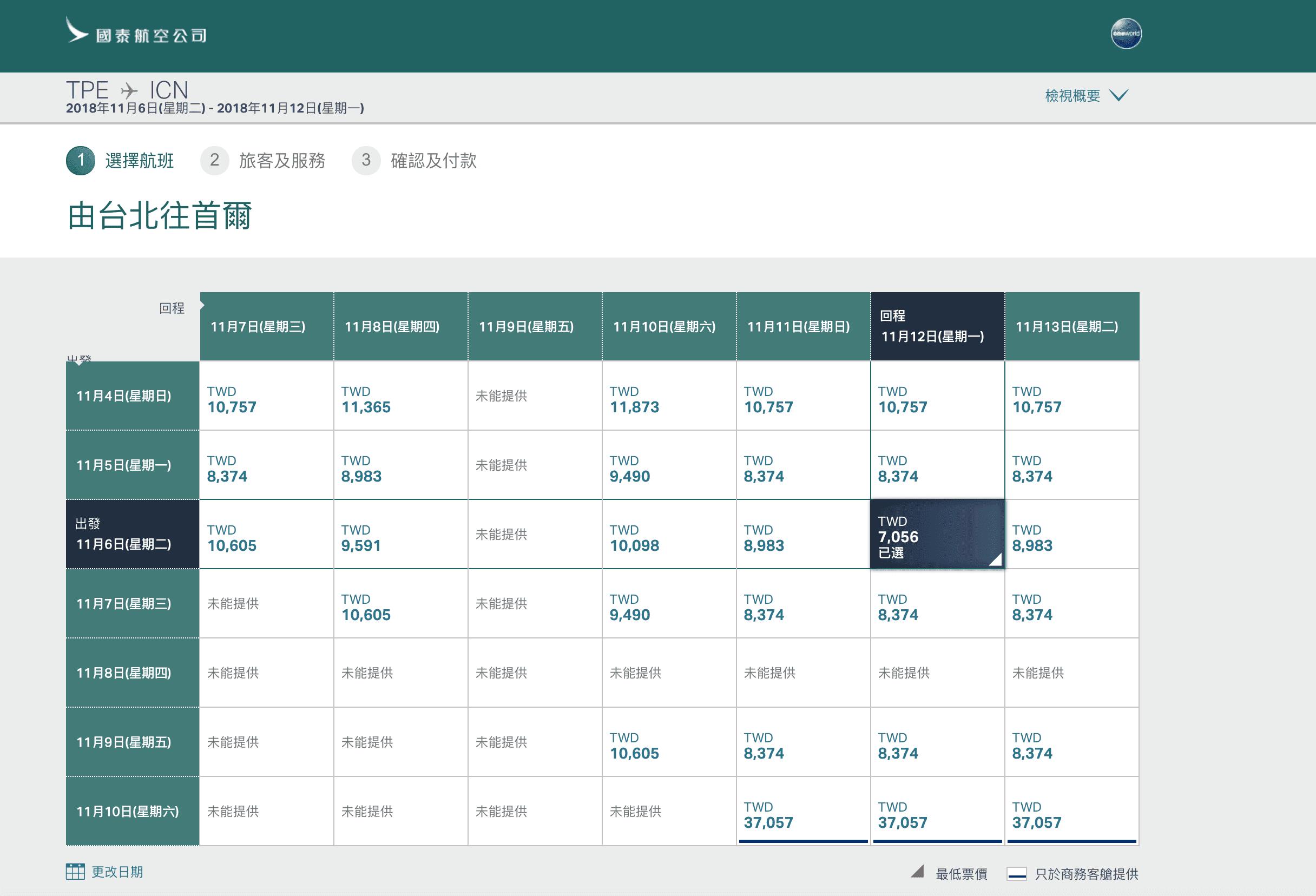 國泰快閃五天,亞洲線最低7K來回,歐洲線18K來回(查票:107.10.8)