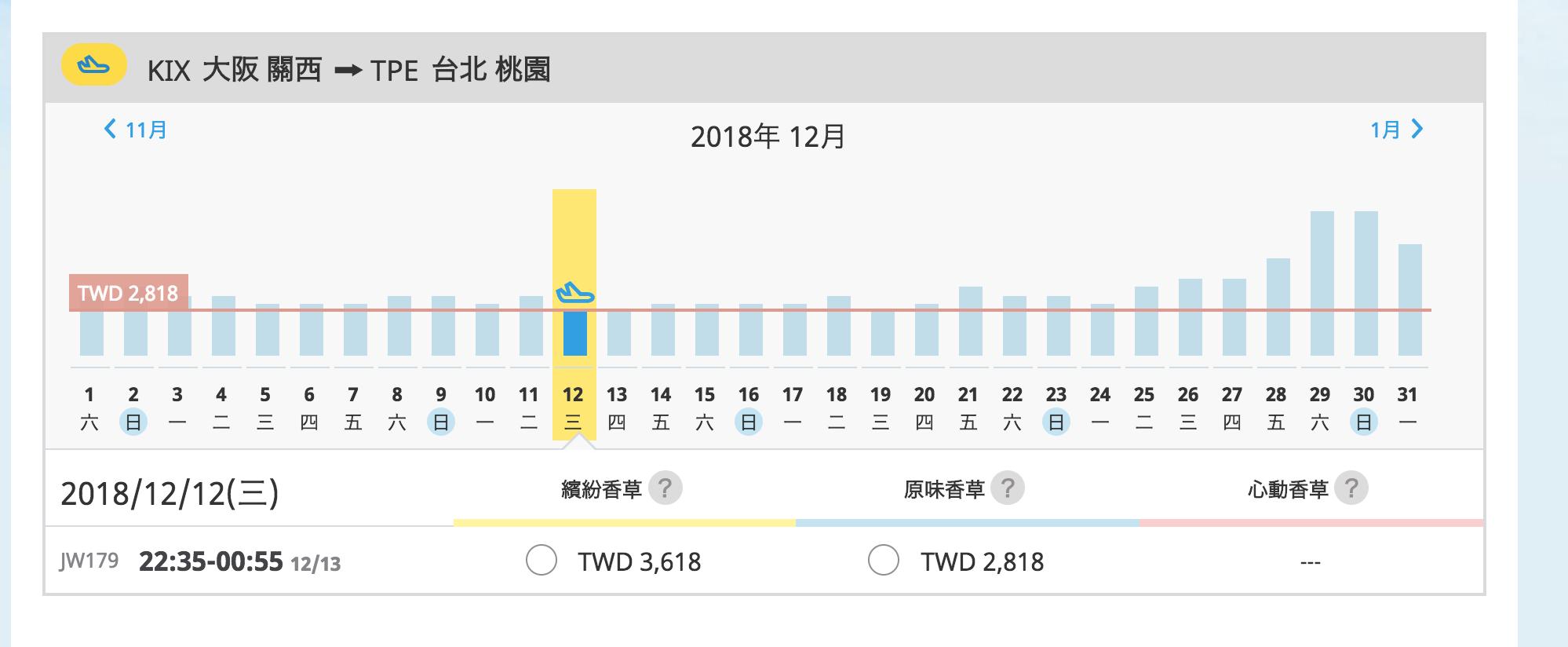 香草固定週五14:00促銷清艙~單程最低888促銷(查票:107.10.18)