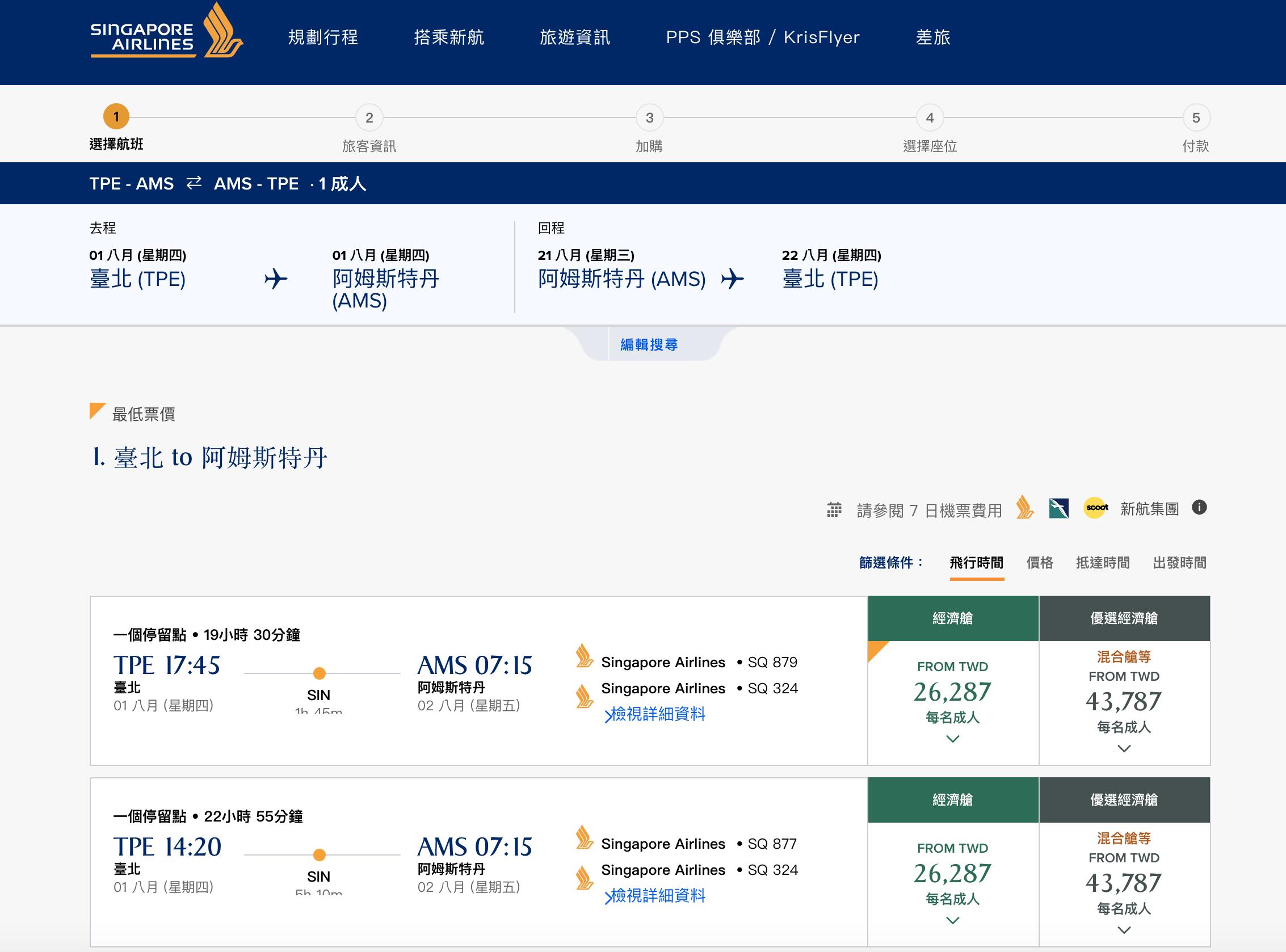 又見新加坡航空暑假7~8月特價,台北出發中轉新加坡,AMS 25K起~(查票:107.11.6)