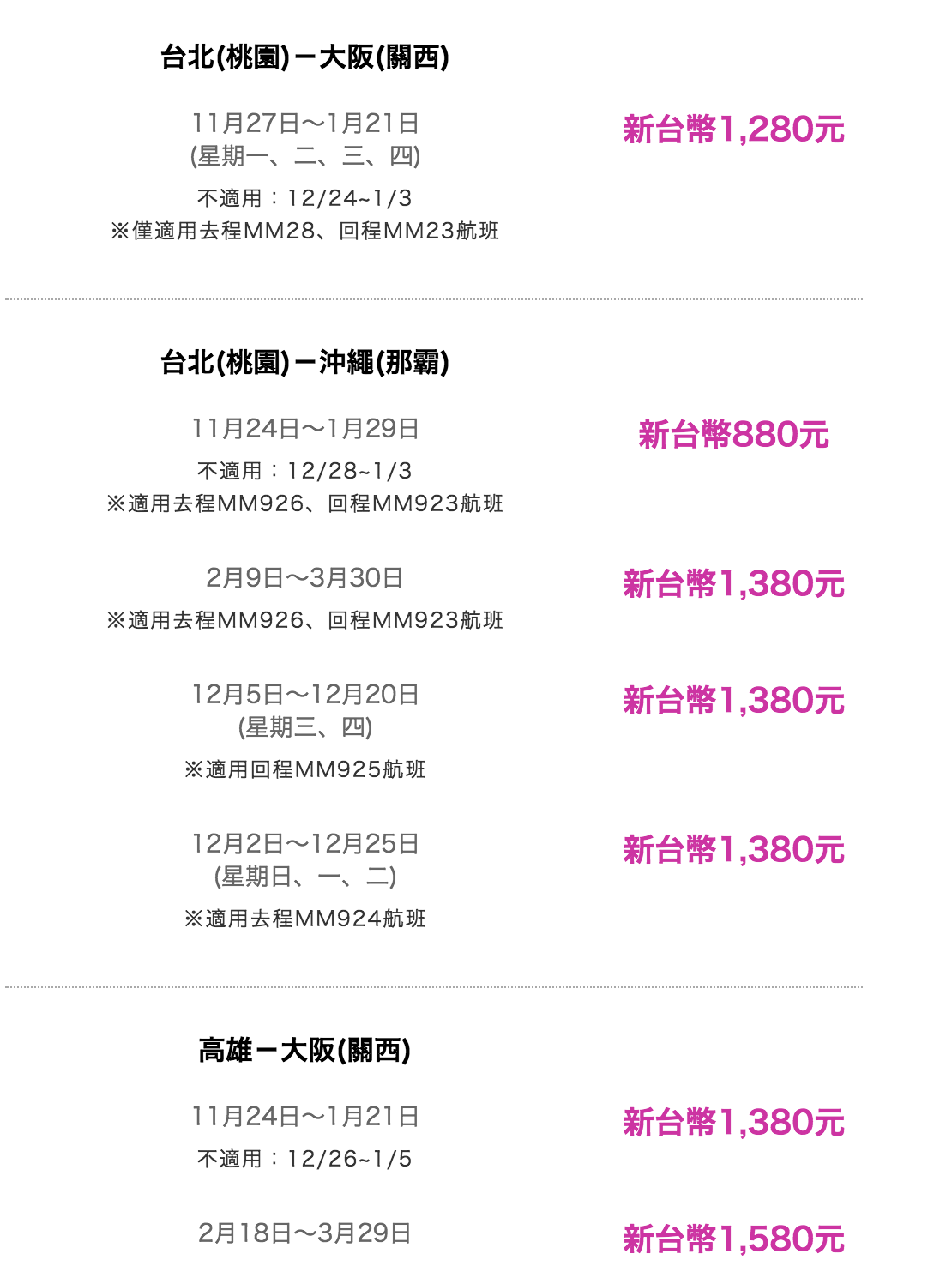 樂桃72小時特價,最低880元起~(11/08 00:00起)
