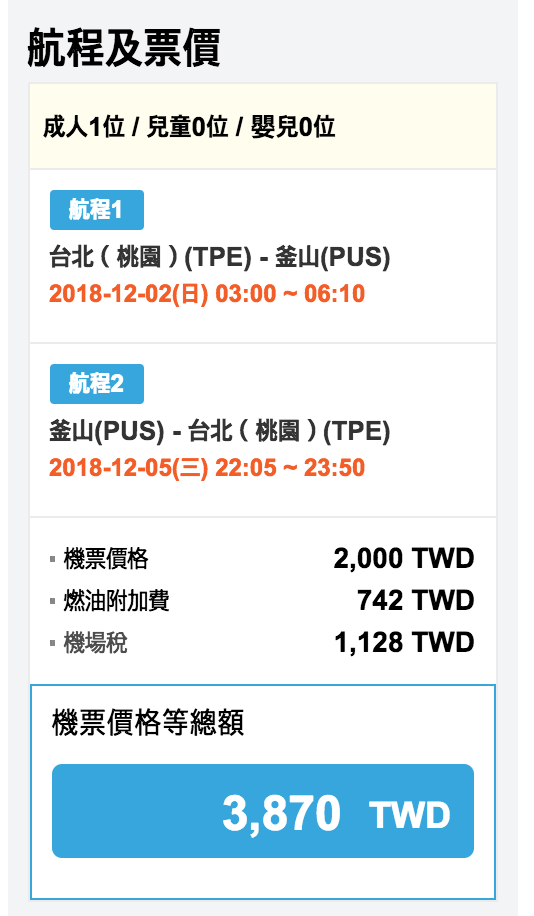 濟州航空超狂單程1000特價,12月前去釜山比去高雄划算啊!(查價:107.11.16)