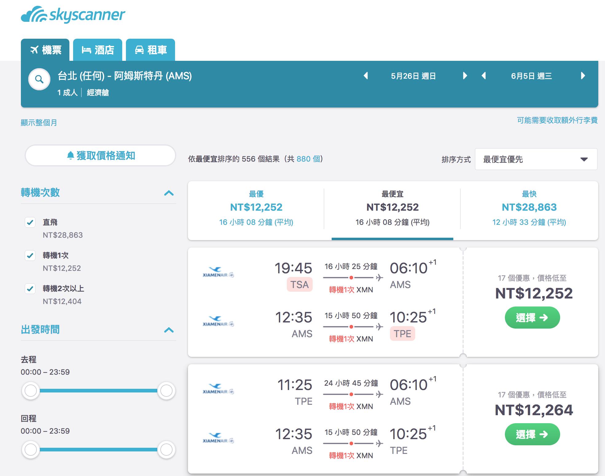 即時熱門文章:台北巴黎/台北阿姆斯特丹,廈門航空12K來回!驚喜暑假價格~(查票:108.1.4)