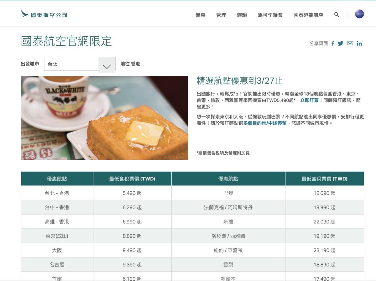 網站近期文章:國泰促銷,長短航線皆有漂亮價格,東京8K、巴黎17K、倫敦18K~(查票:108.3.15)