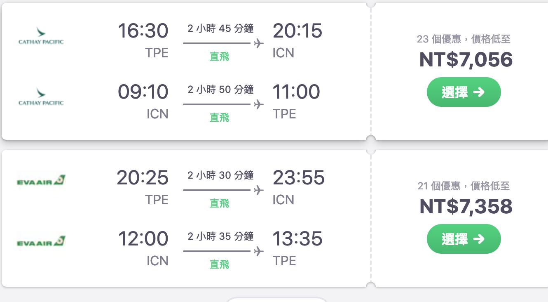 韓國線傳統航空特價,最低6K起~(查票:108.3.29)
