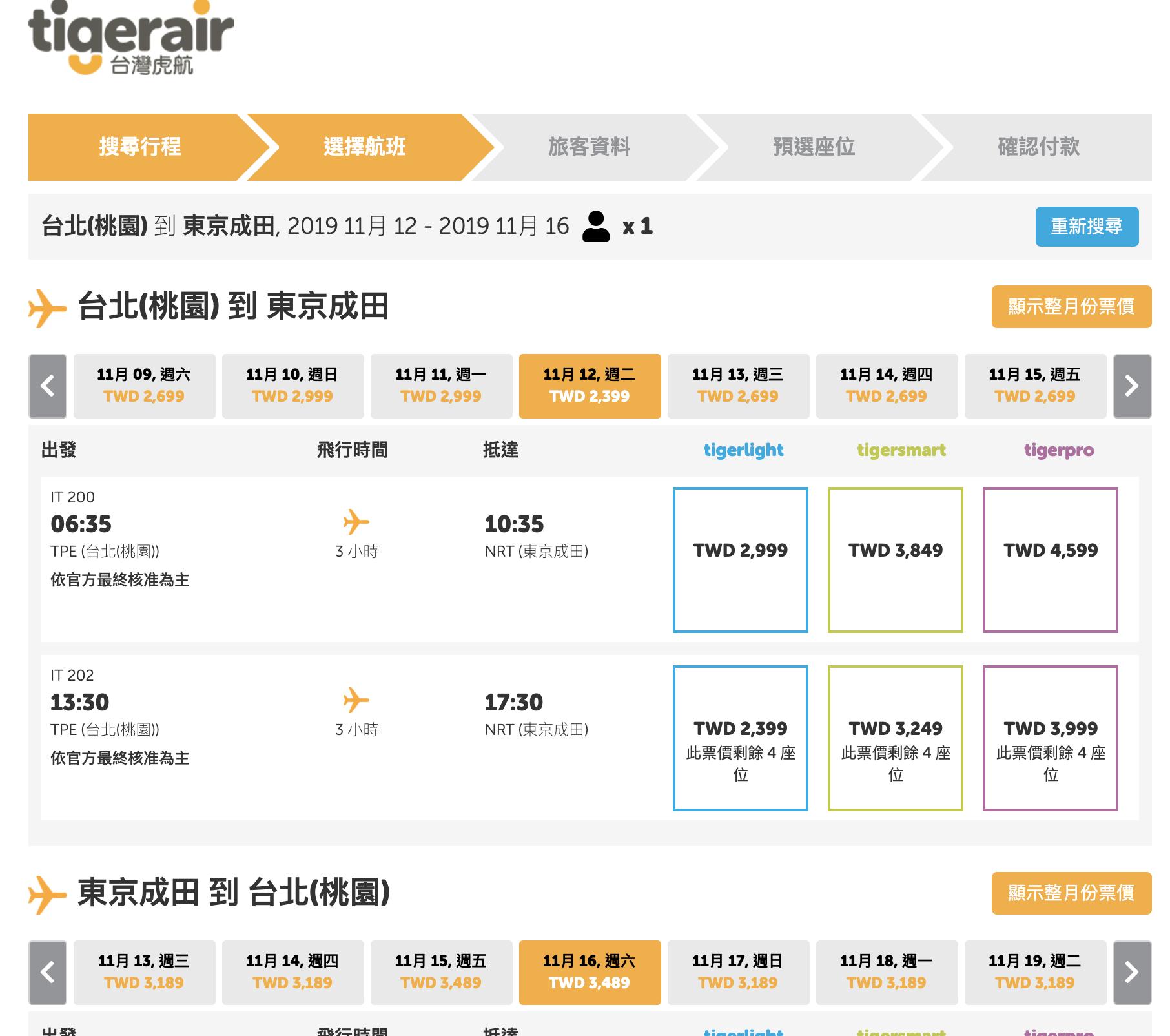 虎航搶票日,11/1~3/28低價下手票價整理(查票:108.6.5)