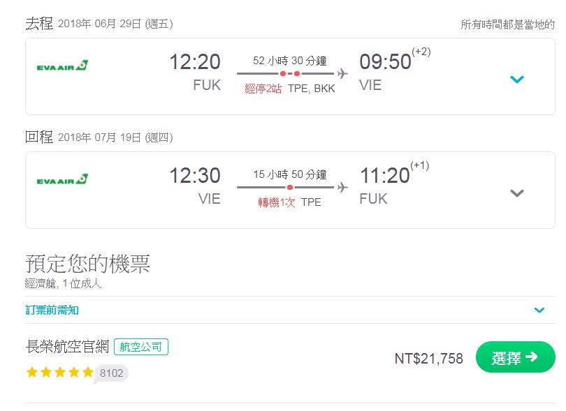 2018歐洲暑假外站出發機票~福岡也是個不錯的外站~21K去維也納~(查票時間:106.10.2)