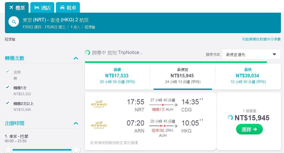 誰說暑假買不到便宜的外站機票?阿提哈德15K,無敵隱藏版~2018年暑假便宜歐洲機票~(查票日期:106.12.29)