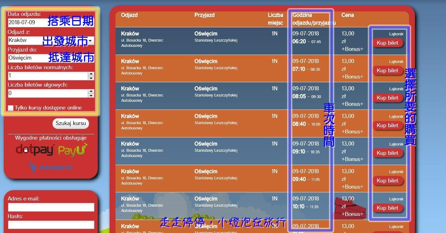 波蘭克拉科夫到奧斯威辛集中營交通說明﹑網路訂車票享優惠教學(含官網訂票)