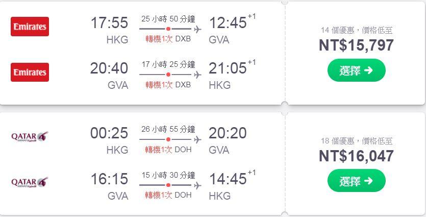 善用低機場稅城市進出歐洲城市part2,這個城市阿酋、卡達一起特價中~15k~16k外站出發~(查票日期:107.1.5)