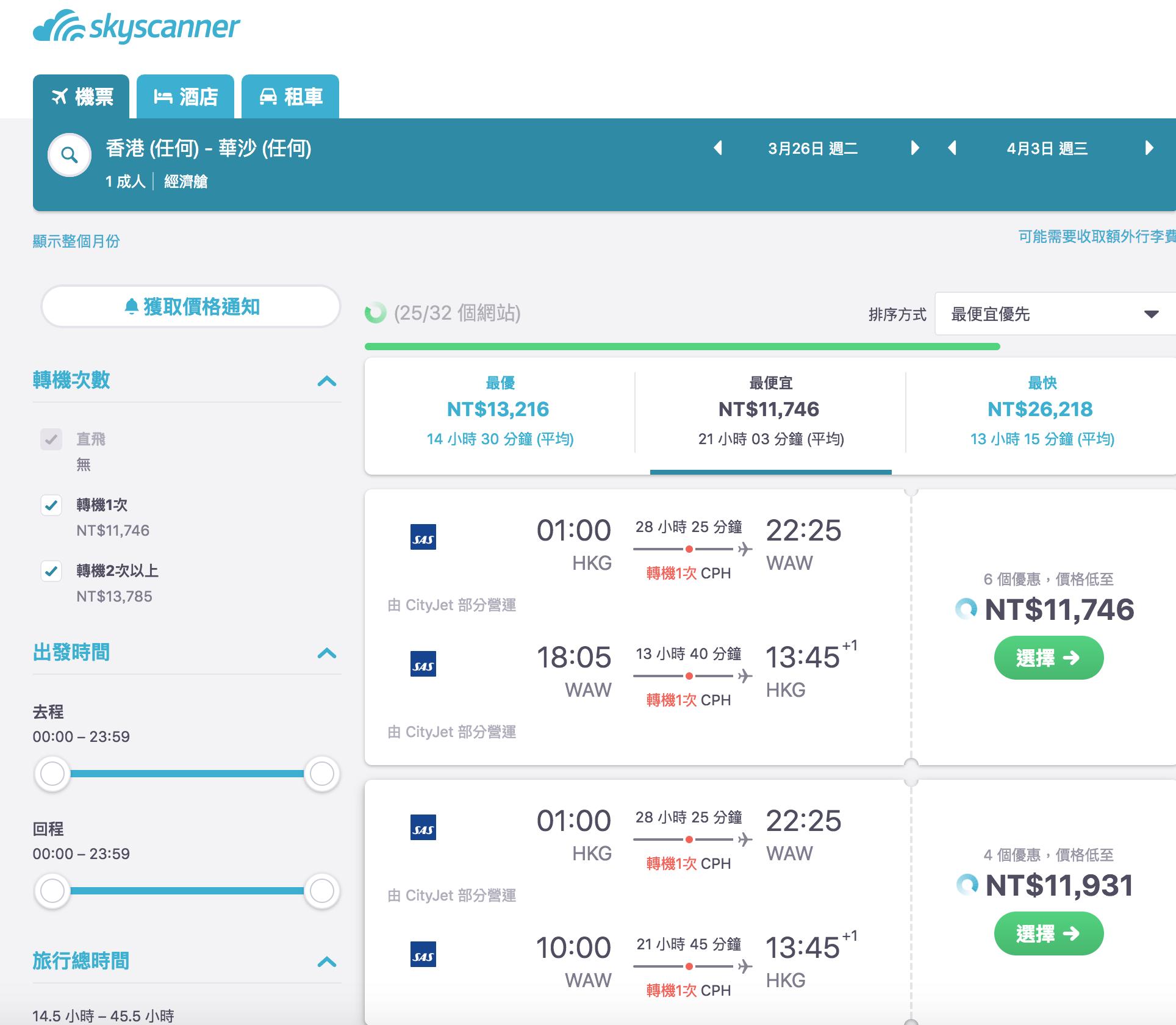 香港外站出發歐洲特價,多家高檔航空公司比拼,最低11K起~(查票:107.11.10)