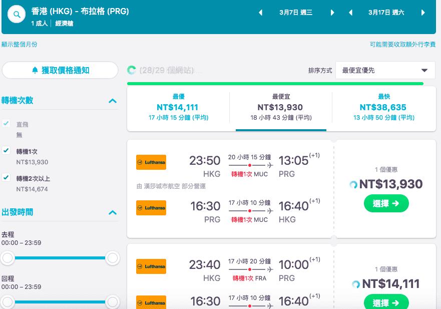 多家航空,外站香港出發歐洲超級大特價(查票時間:106.11.9),3~6月13K特惠價~