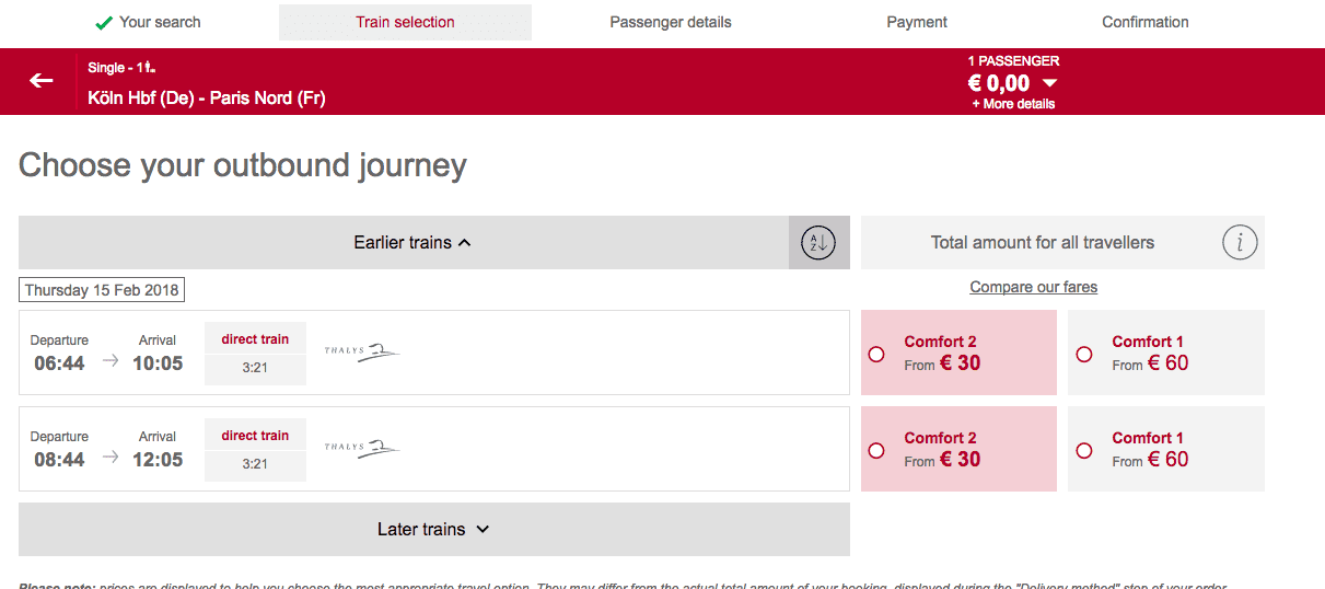 西歐火車|Thalys大力女神號限時特價,科隆到巴黎、科隆到布魯塞爾超級特價!不用花你500元台幣!