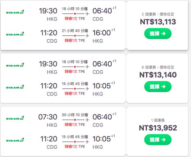 歐洲便宜機票|長榮航空、外站出發巴黎超低價13K!(查價日期:106.12.15)