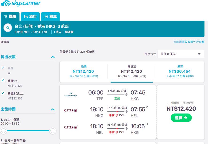 即時熱門文章:卡達航空嘉年華促銷,2017skytrax第一名航空又開始特價了!台北歐洲19K起~隱藏版台港歐12K超低價~