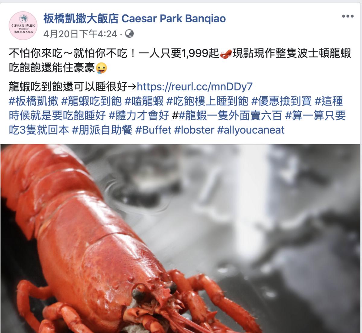1999元/人住宿板橋凱撒大飯店,可享龍蝦吃到飽套餐,又見龍蝦大餐~