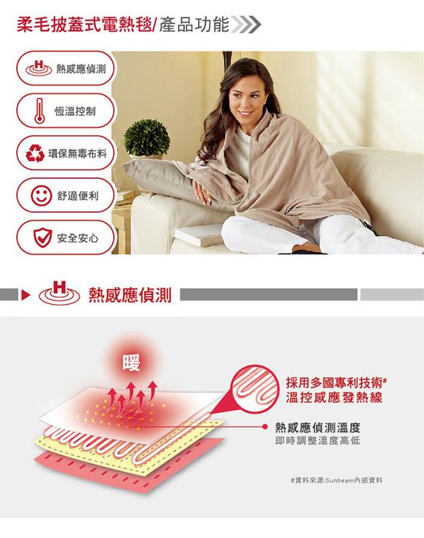 冷冷天辦公讀書很冷嗎?【SUNBEAM】SHWL披蓋式電熱毯,讓你唸書工作看電視都很暖~可機洗、有保固~