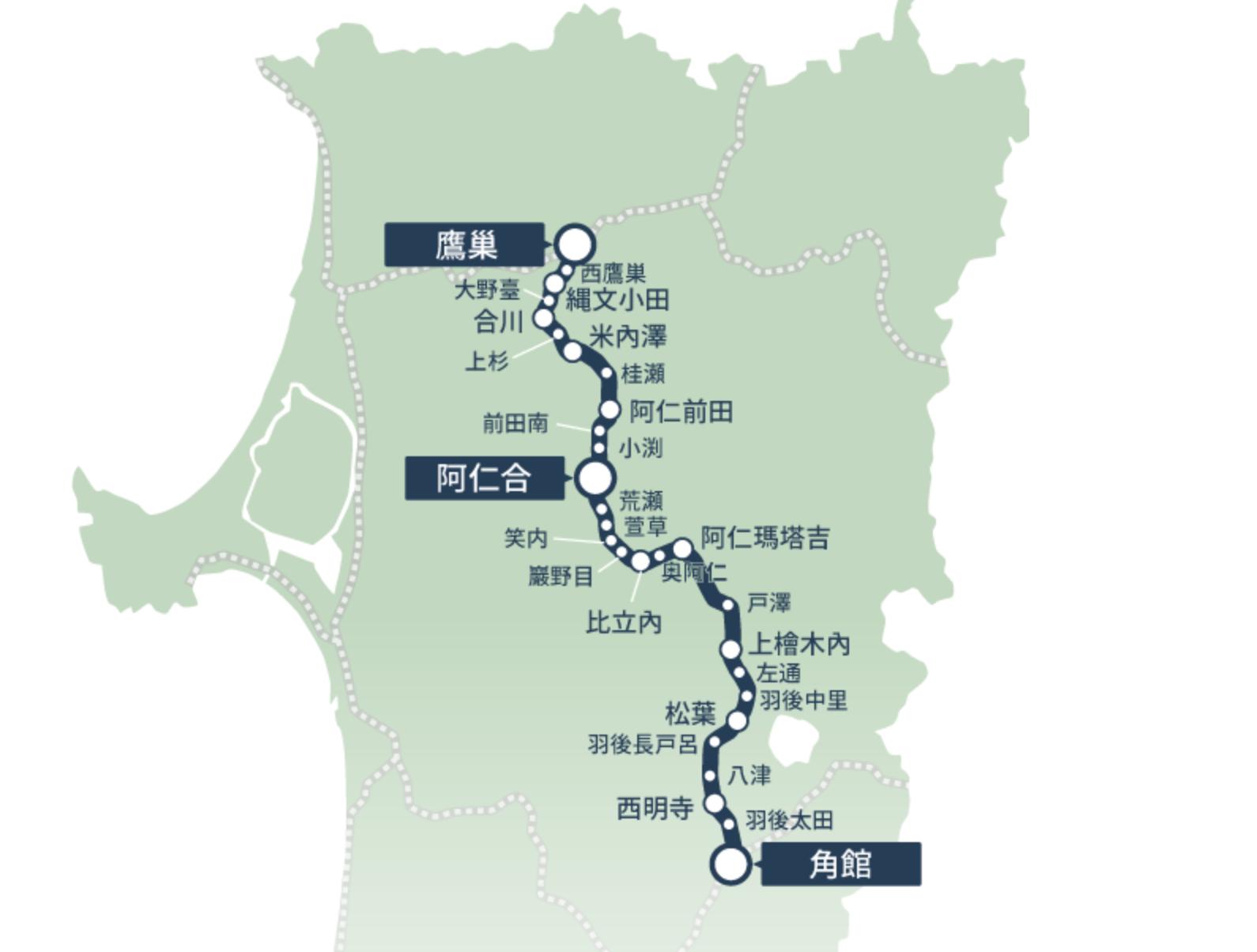 秋田內陸鐵道路線圖