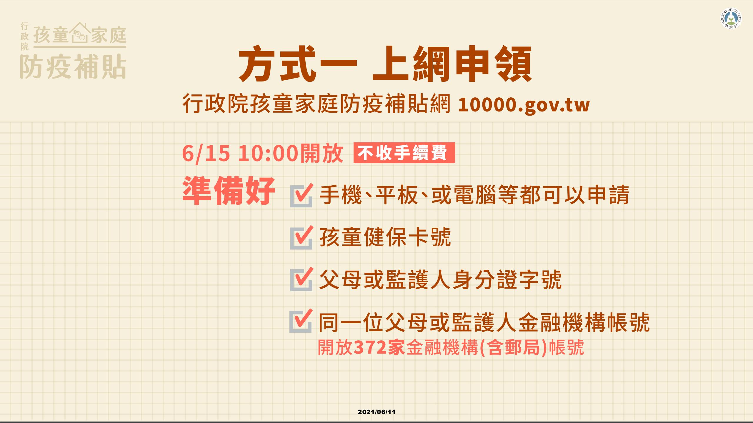 孩童家庭防疫補貼,6/15~9/30線上申請,30秒可完成